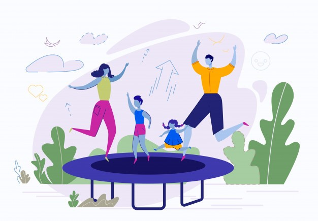 Family outdoor activities, jumping on trampoline Premium Vector