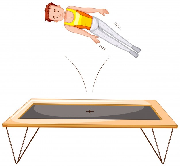 Gymnatist on trampoline white background Premium Vector